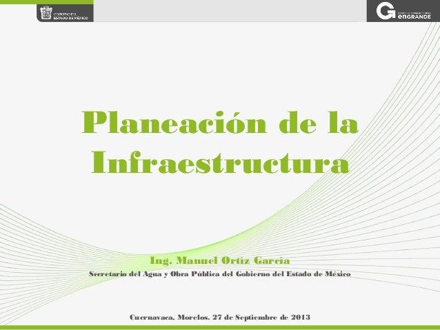 Ing. Manuel Ortíz García Secretario del Agua y Obra Pública del Gobierno del Estado de México Planeación de la Infraestruc...