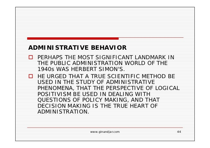 behavioral approach in public administration Essentially, the comparative approach to public administration has serious inclination to research and theory-building it similarly promises to take public administration closer to the scientific status/destination which it desperately covets through empiricism the ingredients.