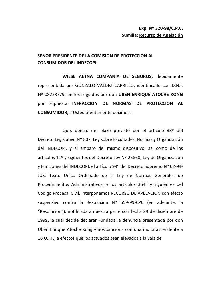 Sumilla: Recurso de ApelaciónSENOR PRESIDENTE DE LA COMISI