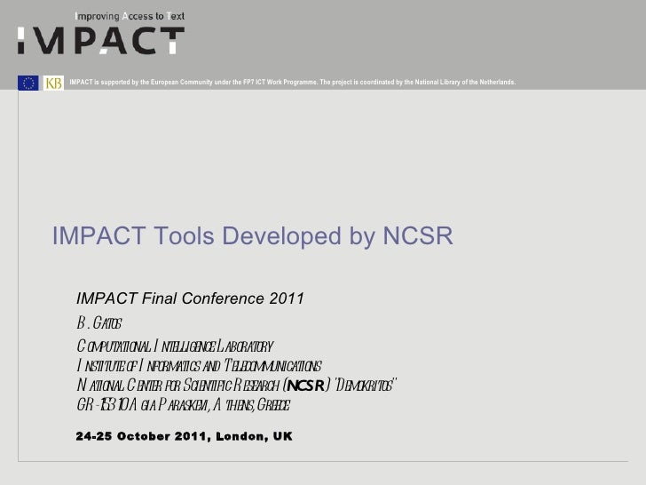 IMPACT Final Conference - Research Parallel Sessions02 research session_ncsr_tools