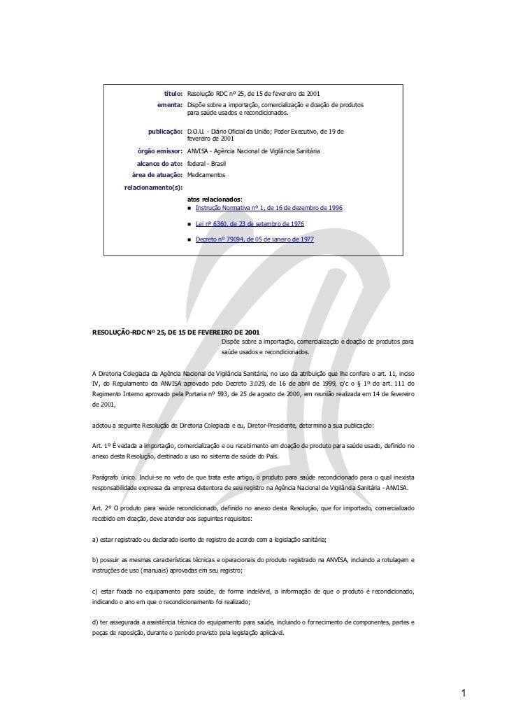 RESOLUÇÃO RDC Nº 25, DE 15 DE FEVEREIRO DE 2001