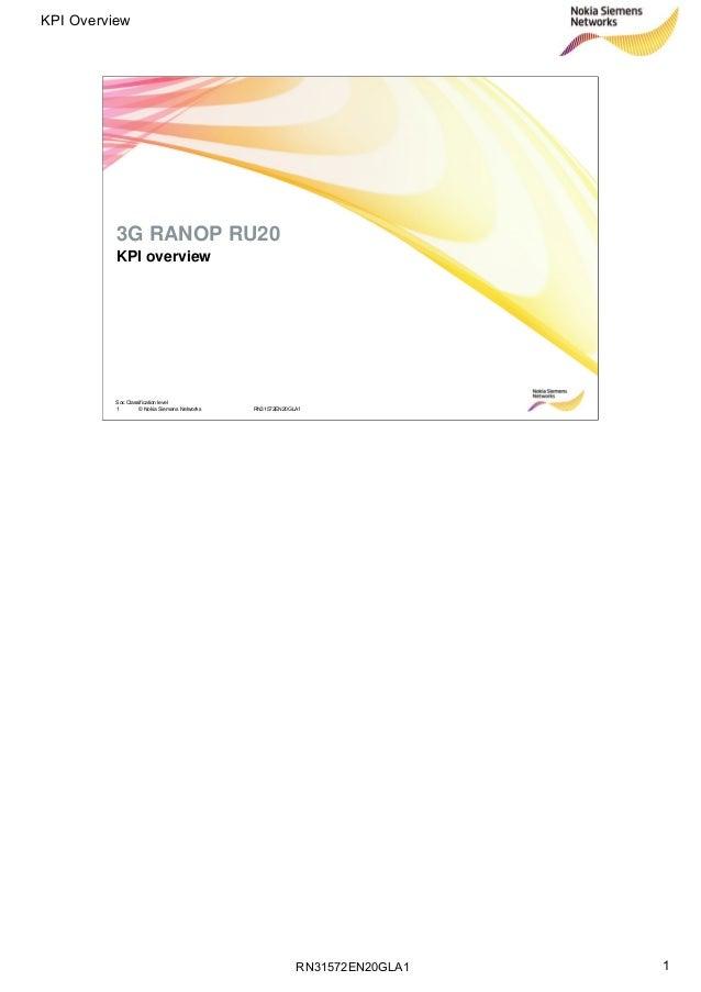 RN31572EN20GLA1 KPI Overview 1 Soc Classification level 1 © Nokia Siemens Networks RN31572EN20GLA1 KPI overview 3G RANOP R...