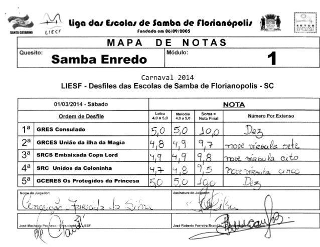 -~  liga dal EICOial de Samba de rlorianOpolil  l f E' ~ f  SANTA CATARINA  rundada em 06/09/1005  MAPA Samba Enredo  Ques...
