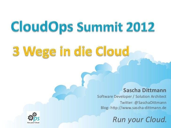 Sascha DittmannSoftware Developer / Solution Architect              Twitter: @SaschaDittmann  Blog: http://www.sascha-ditt...