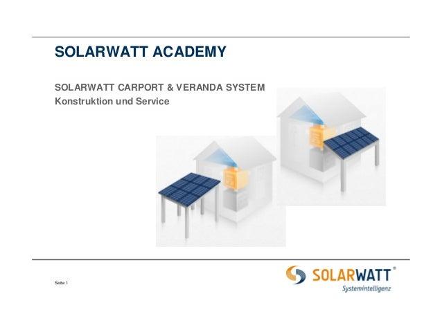 SOLARWATT ACADEMY SOLARWATT CARPORT & VERANDA SYSTEM Konstruktion und Service  Seite 1