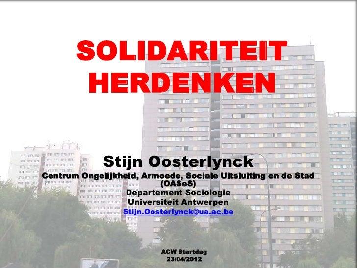 ACW STARTDAG 2012 - Stijn Oosterlynck