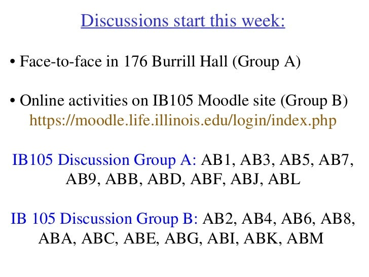 Discussions start this week: •  Face-to-face in 176 Burrill Hall (Group A) •  Online activities on IB105 Moodle site (Grou...