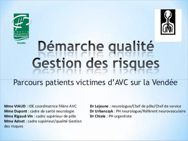 Parcours patients victimes d'AVC sur la Vendée  Dr Lejeune : neurologue/Chef de pôle/Chef de service  Dr Urbanczyk : PH ne...