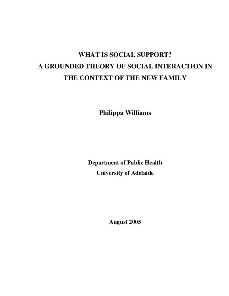 WHAT IS SOCIAL SUPPORT?A GROUNDED THEORY OF SOCIAL INTERACTION IN      THE CONTEXT OF THE NEW FAMILY                Philip...