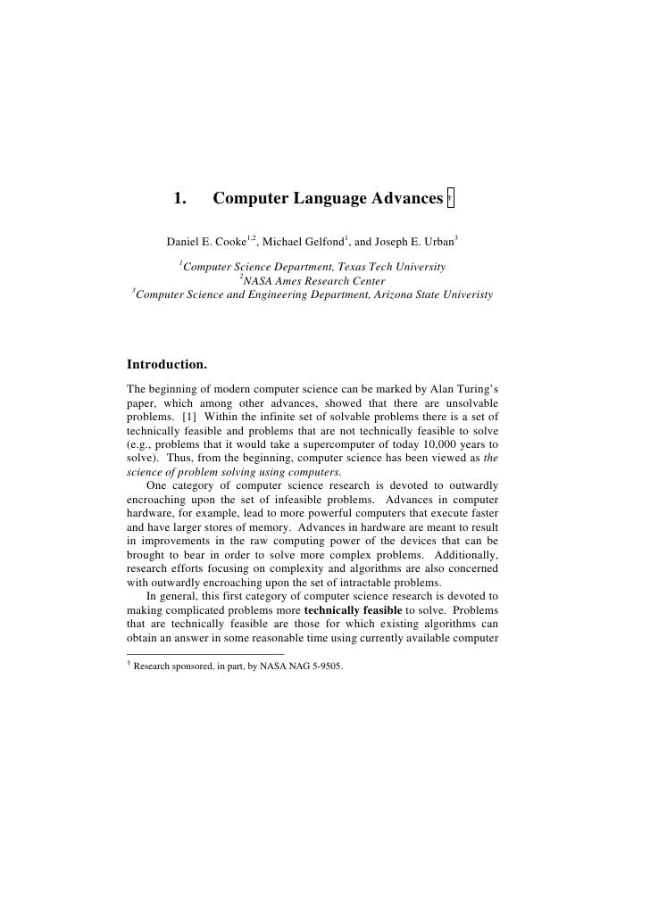 1.       Computer Language Advances †           Daniel E. Cooke1,2, Michael Gelfond1, and Joseph E. Urban3             1  ...