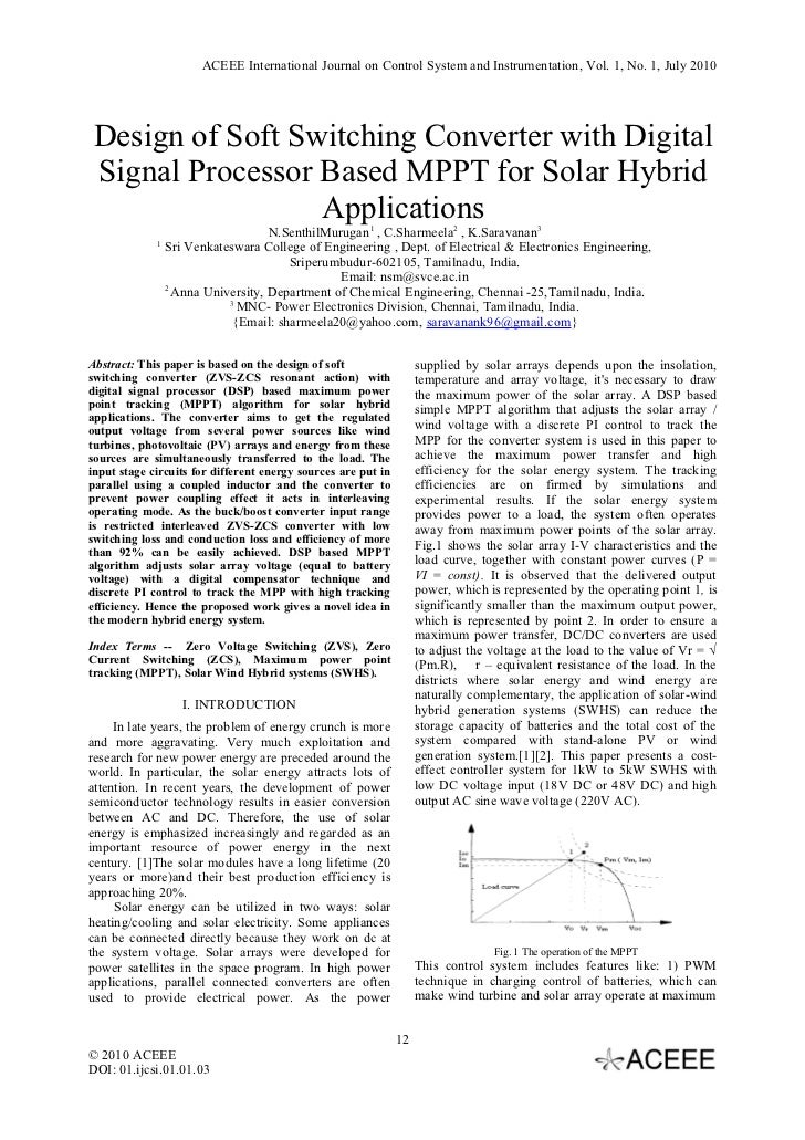 ACEEE International Journal on Control System and Instrumentation, Vol. 1, No. 1, July 2010 Design of Soft Switching Conve...