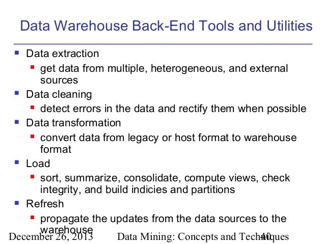 Extraction Tools in Data Warehouse Data Warehouse Back-end Tools