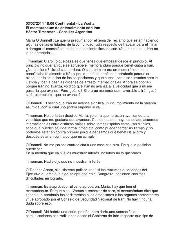 03/02/2014 18:06 Continental - La Vuelta El memorandum de entendimiento con Irán Héctor Timerman - Canciller Argentino Mar...