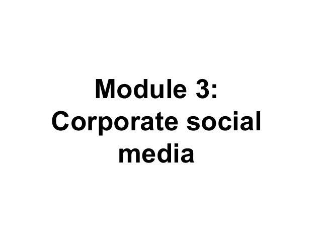 Module 3: Corporate social media