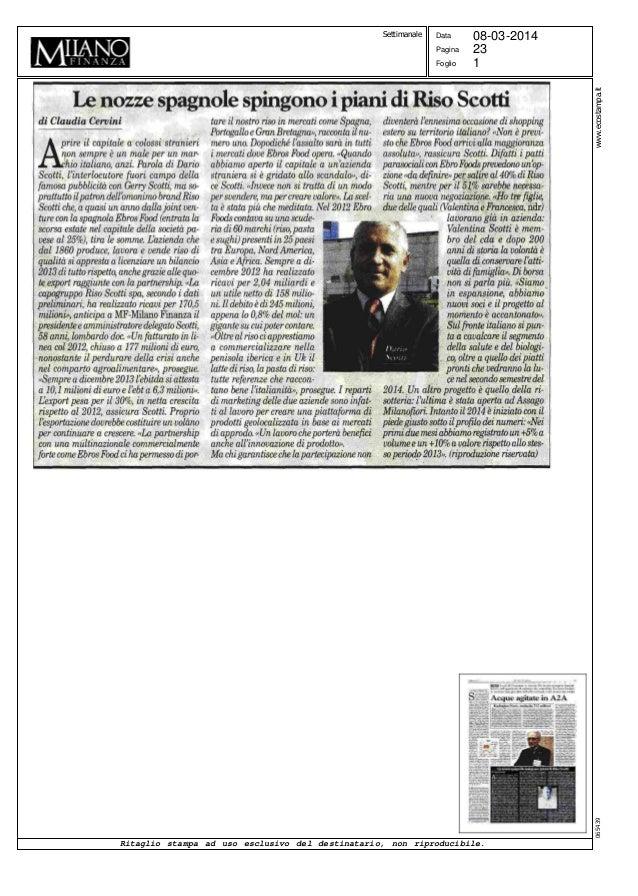1 Data Pagina Foglio 08-03-2014 23 Ritaglio stampa ad uso esclusivo del destinatario, non riproducibile. www.ecostampa.it0...