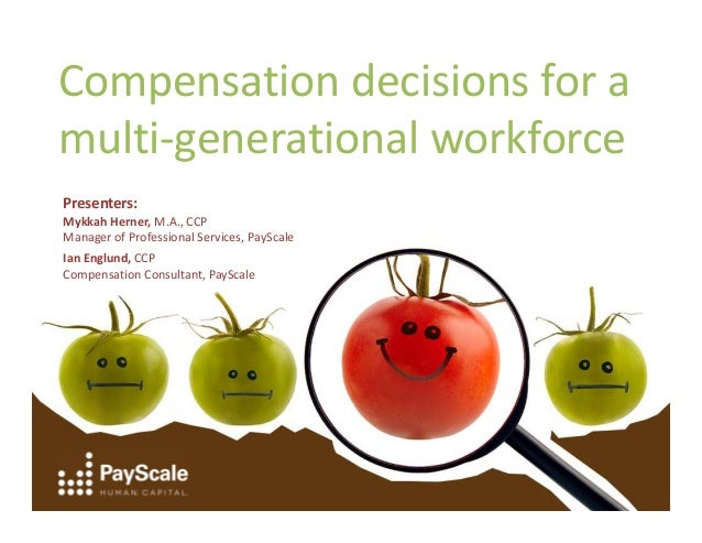 Compensation decisions for a multi-generational workforce Presenters: Mykkah Herner, M.A., CCP Manager of Professional Ser...
