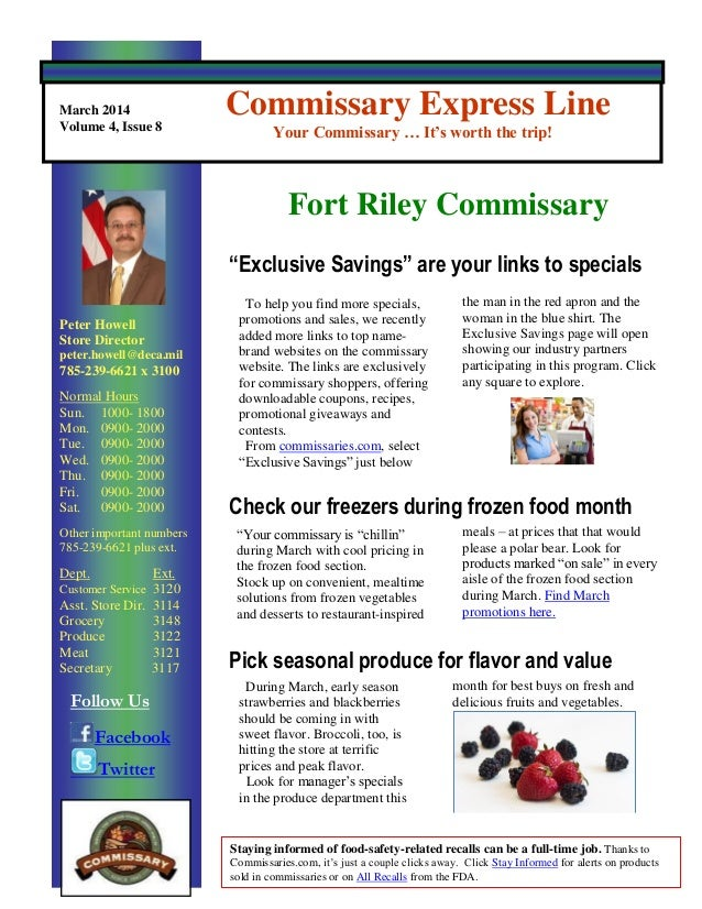 March  2014  Commissary Express Line