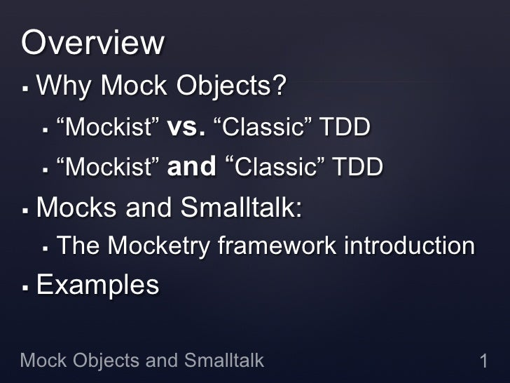 Mock Objects and Smalltalk