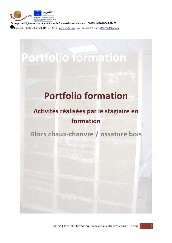 Portfolio formation Blocs chaux-chanvre