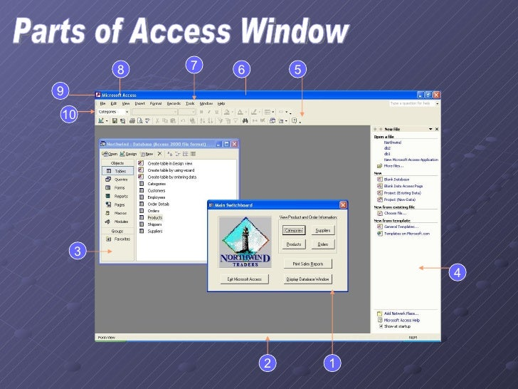 Parts of Access Window 1 2 6 5 3 4 7 8 9 10
