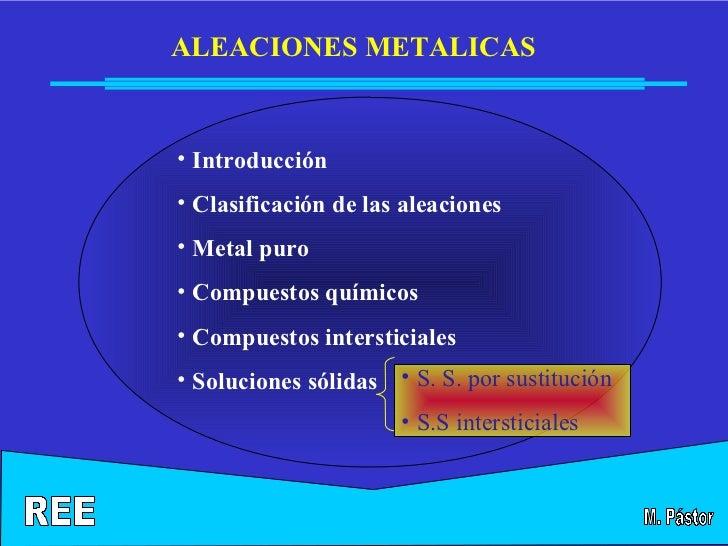 ALEACIONES METALICAS• Introducción• Clasificación de las aleaciones• Metal puro• Compuestos químicos• Compuestos interstic...