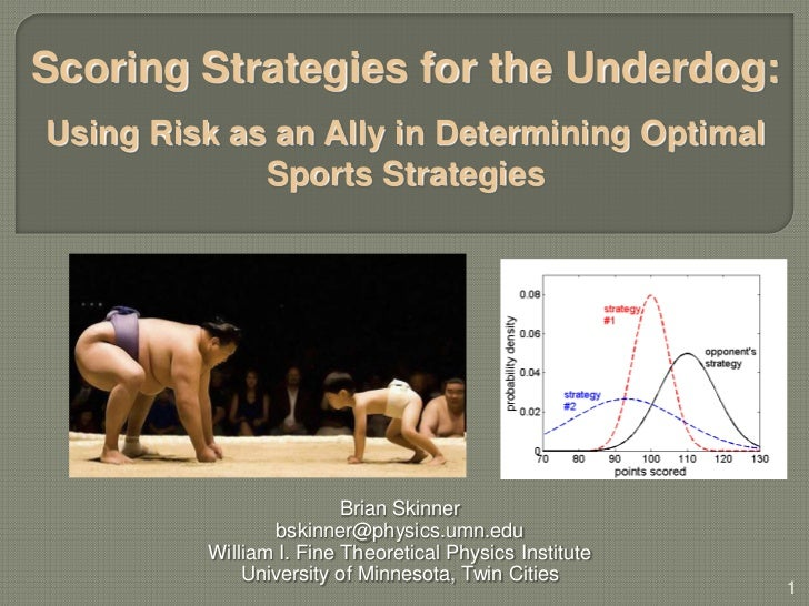 Scoring Strategies for the Underdog – Using Risk as an Ally in Determining Optimal Sports Strategies