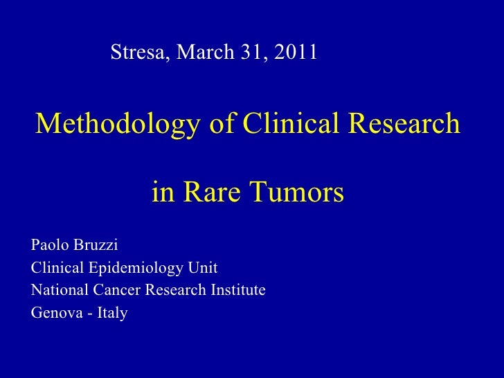 Rare Solid Cancers: An Introduction - Slide 3 - P. Bruzzi - Methodological aspects of clinical research in rare cancers