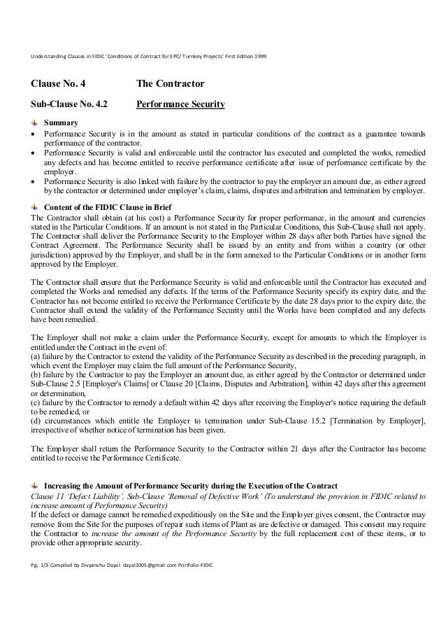 Clause 4.2 Performance Security-Understanding Clauses in FIDIC 'Conditions of Contract for EPC/ Turnkey Projects' First Edition 1999.
