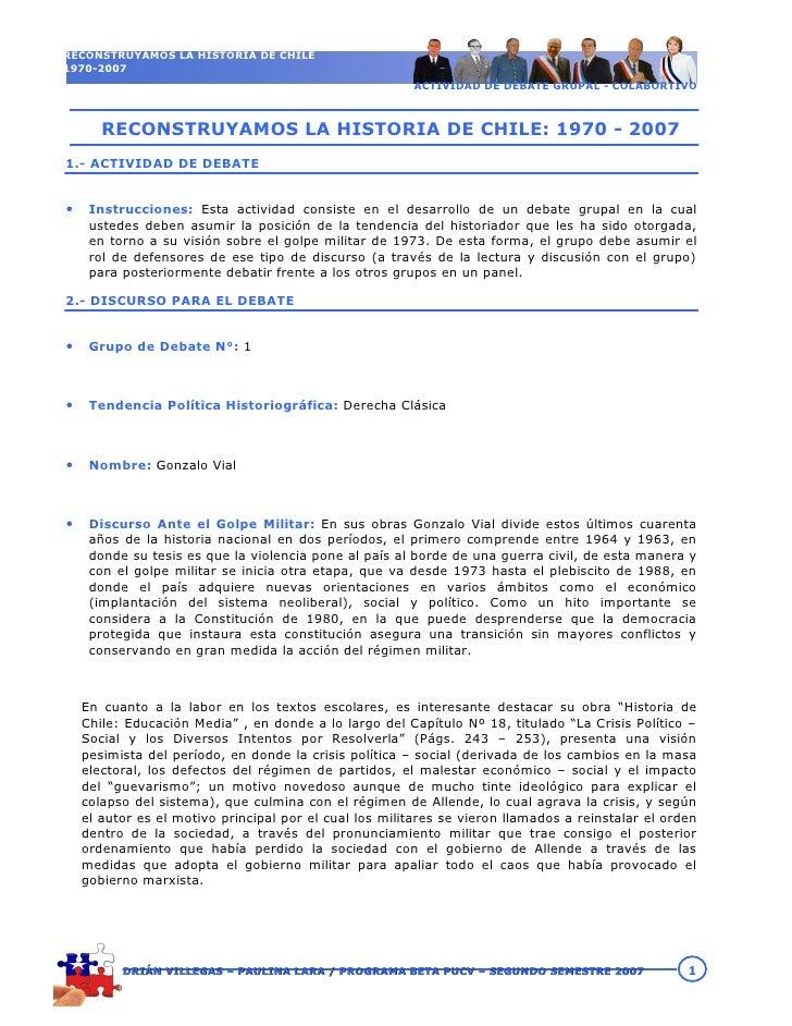 RECONSTRUYAMOS LA HISTORIA DE CHILE 1970-2007                                                         ACTIVIDAD DE DEBATE ...