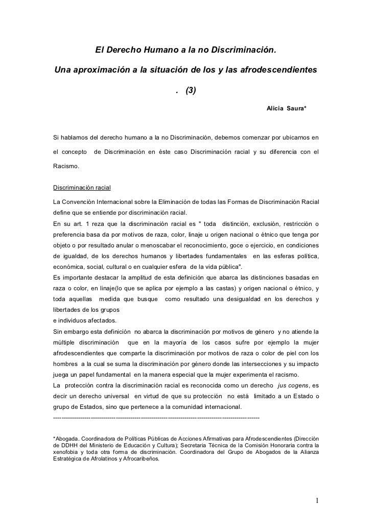 El Derecho Humano a la no Discriminación.Una aproximación a la situación de los y las afrodescendientes                   ...