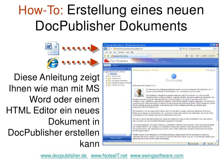 How-To: Erstellung eines neuen        DocPublisher Dokuments     Diese Anleitung zeigt Ihnen wie man mit MS      Word oder...