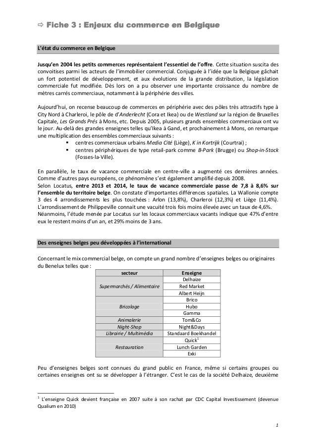  Fiche 3 : Enjeux du commerce en Belgique 1 L'état du commerce en Belgique Jusqu'en 2004 les petits commerces représentai...