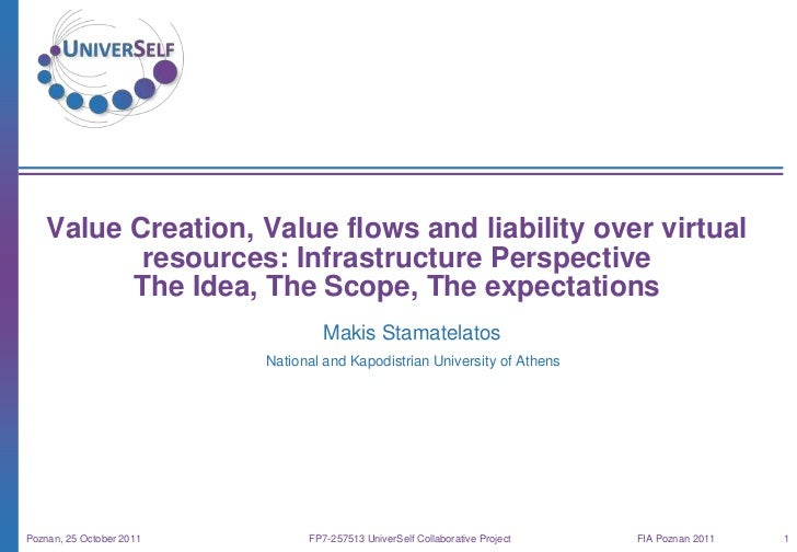Value Creation, Value flows and liability over virtual           resources: Infrastructure Perspective          The Idea, ...