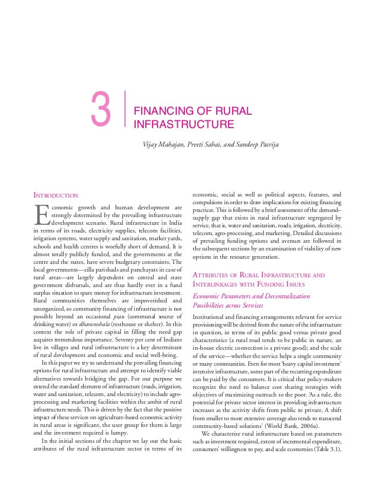 3                  FINANCING OF RURAL                                            INFRASTRUCTURE                           ...