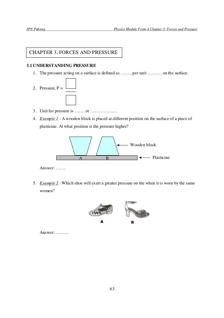 JPN Pahang                                        Physics Module Form 4 Chapter 3: Forces and Pressure CHAPTER 3: FORCES A...