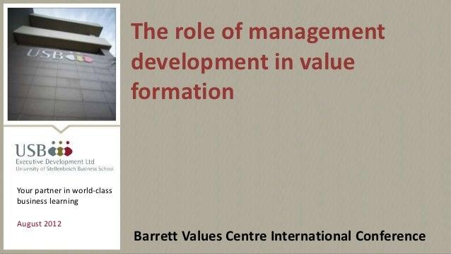 Frik Landman - The Role of Management Development in Value Formation