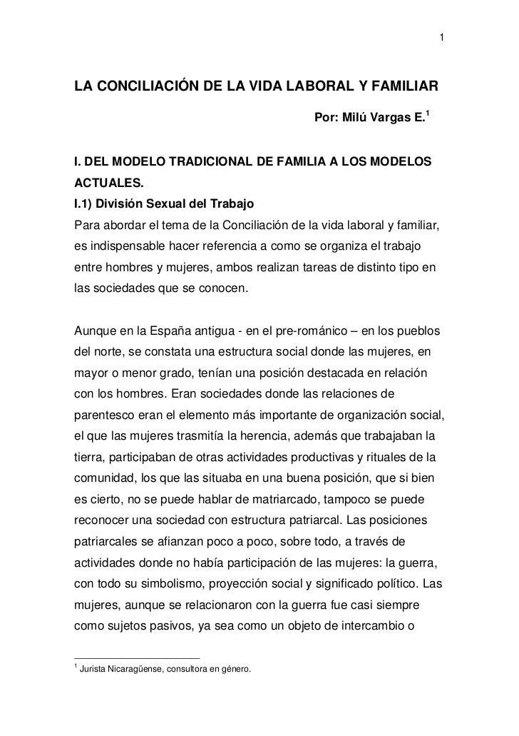1LA CONCILIACIÓN DE LA VIDA LABORAL Y FAMILIAR                                                  Por: Milú Vargas E.1I. DEL...