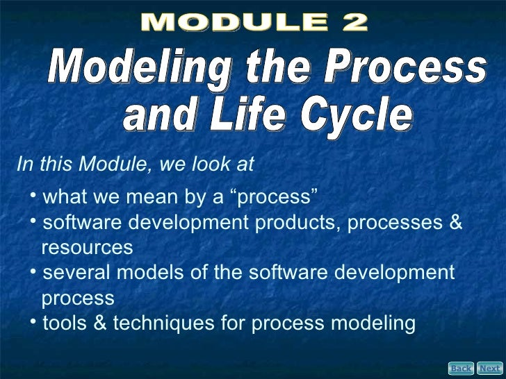 "In this Module, we look at   • what we mean by a ""process""   • software development products, processes &     resources   ..."