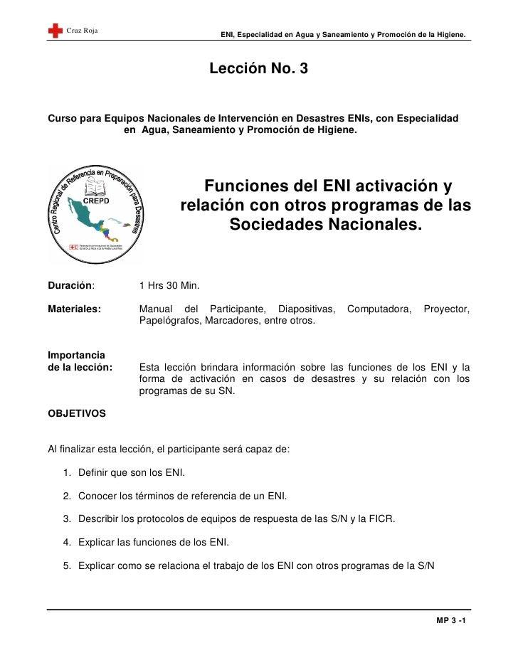 Cruz Roja                                        ENI, Especialidad en Agua y Saneamiento y Promoción de la Higiene.       ...