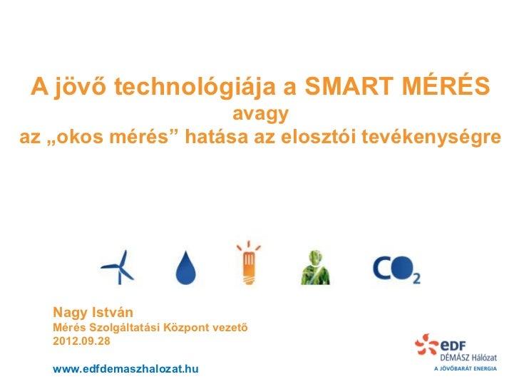 """A jövő technológiája a SMART MÉRÉS                     avagyaz """"okos mérés"""" hatása az elosztói tevékenységre   Nagy István..."""