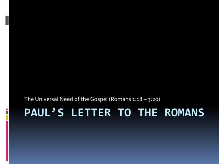 03.  Paul's  Letter To The  Romans   1v18   3v20