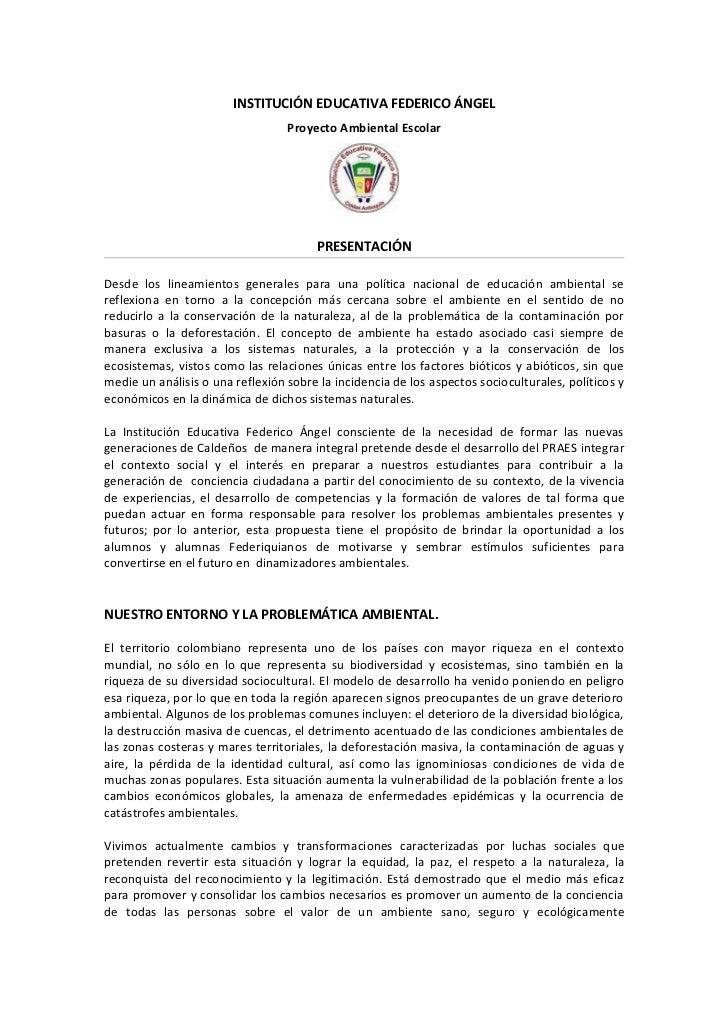 INSTITUCIÓN EDUCATIVA FEDERICO ÁNGEL                                  Proyecto Ambiental Escolar                          ...