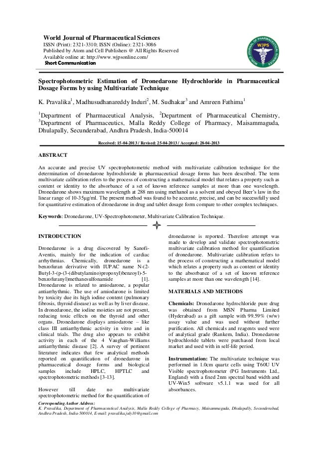 Spectrophotometric Estimation of Dronedarone Hydrochloride in Pharmaceutical Dosage Forms by using Multivariate Technique
