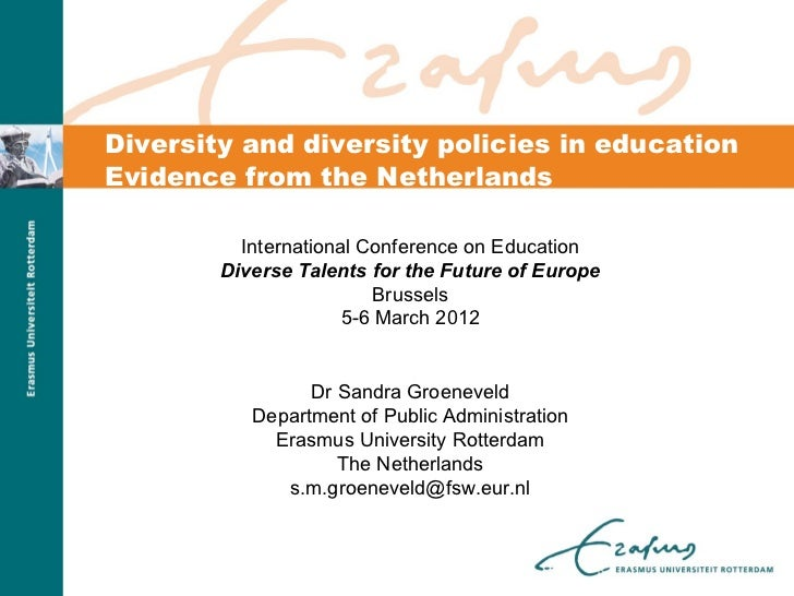 Diversity and diversity policies in educationEvidence from the Netherlands          International Conference on Education ...