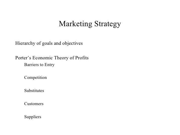 Marketing Strategy <ul><li>Hierarchy of goals and objectives  </li></ul><ul><li>Porter's Economic Theory of Profits  </li>...