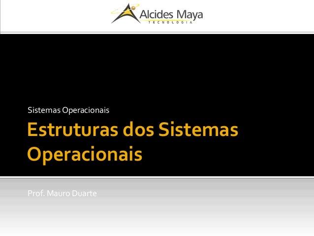 Estruturas dos Sistemas Operacionais Sistemas Operacionais Prof. Mauro Duarte