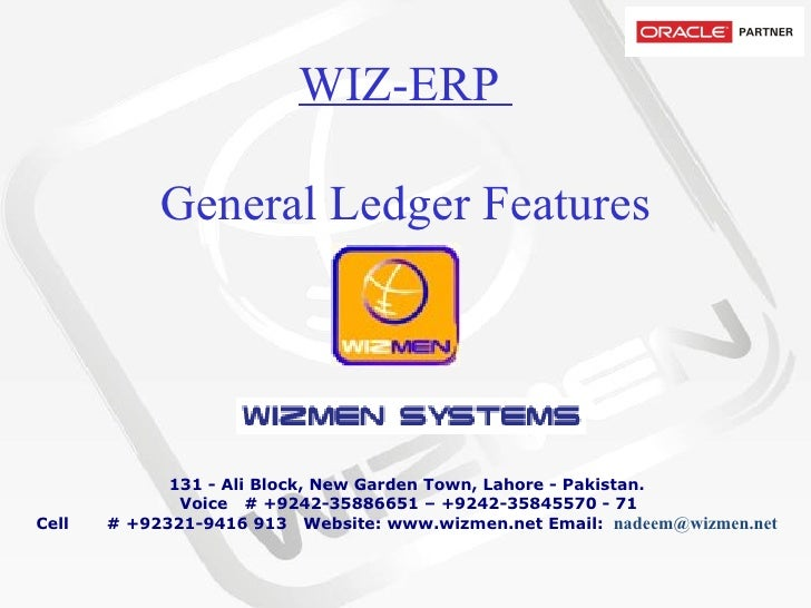 WIZ-ERP  General Ledger Features