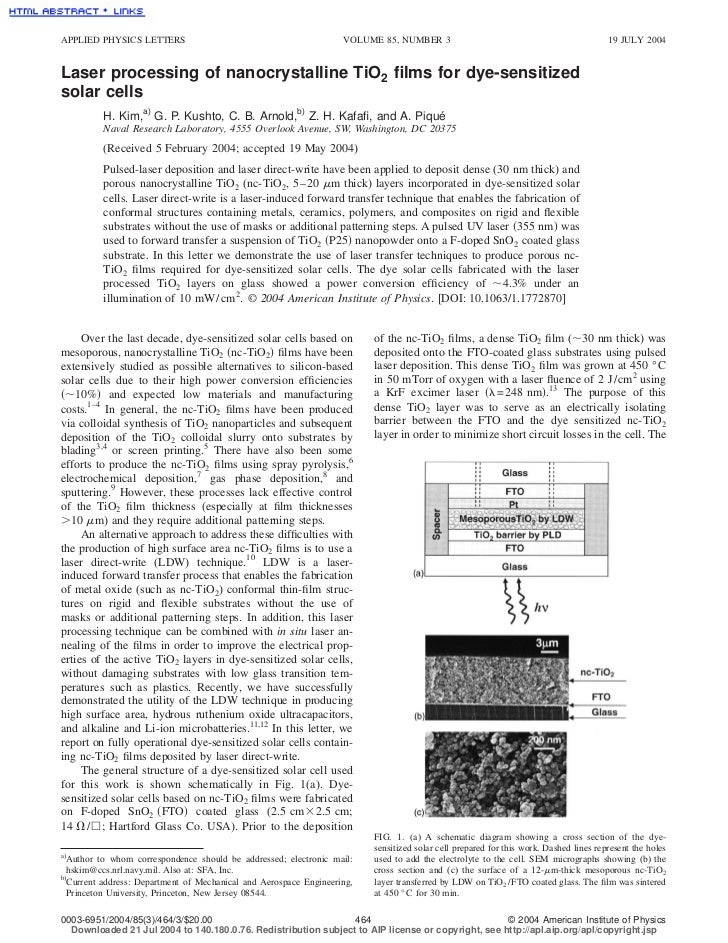 APPLIED PHYSICS LETTERS                                           VOLUME 85, NUMBER 3                                     ...