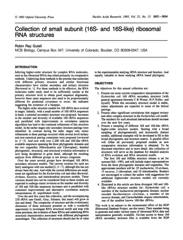 Nucleic Acids Research, 1993, Vol. 21, No. 13 3051-3054Collection of small subunit (16S- and 16S-like) ribosomalRNA struct...