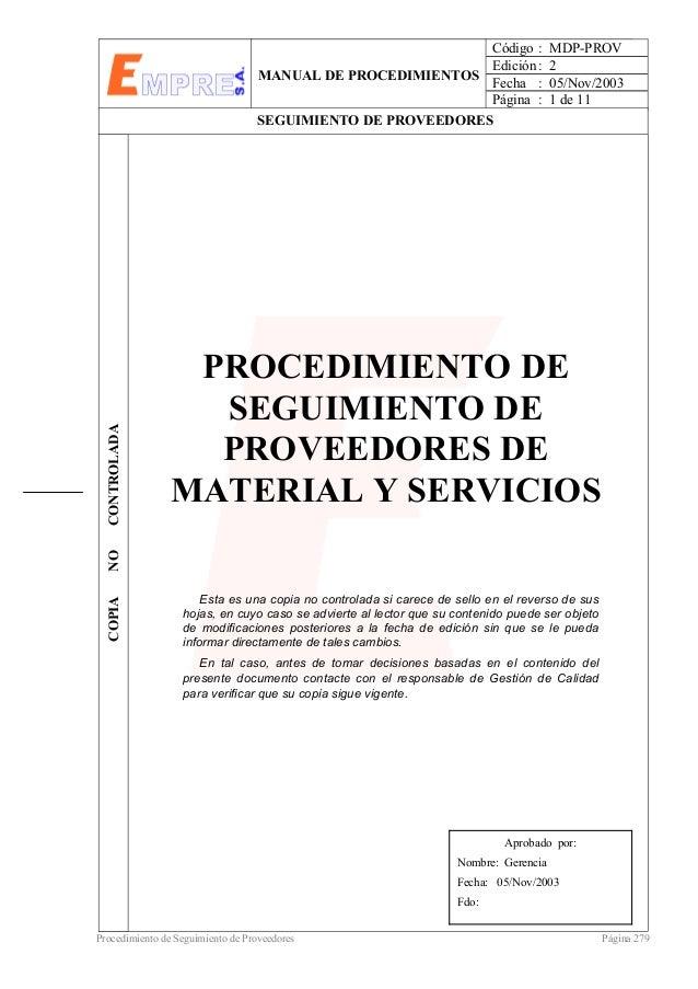 Procedimiento seguimiento proveedores material servicios for Proveedores material de oficina